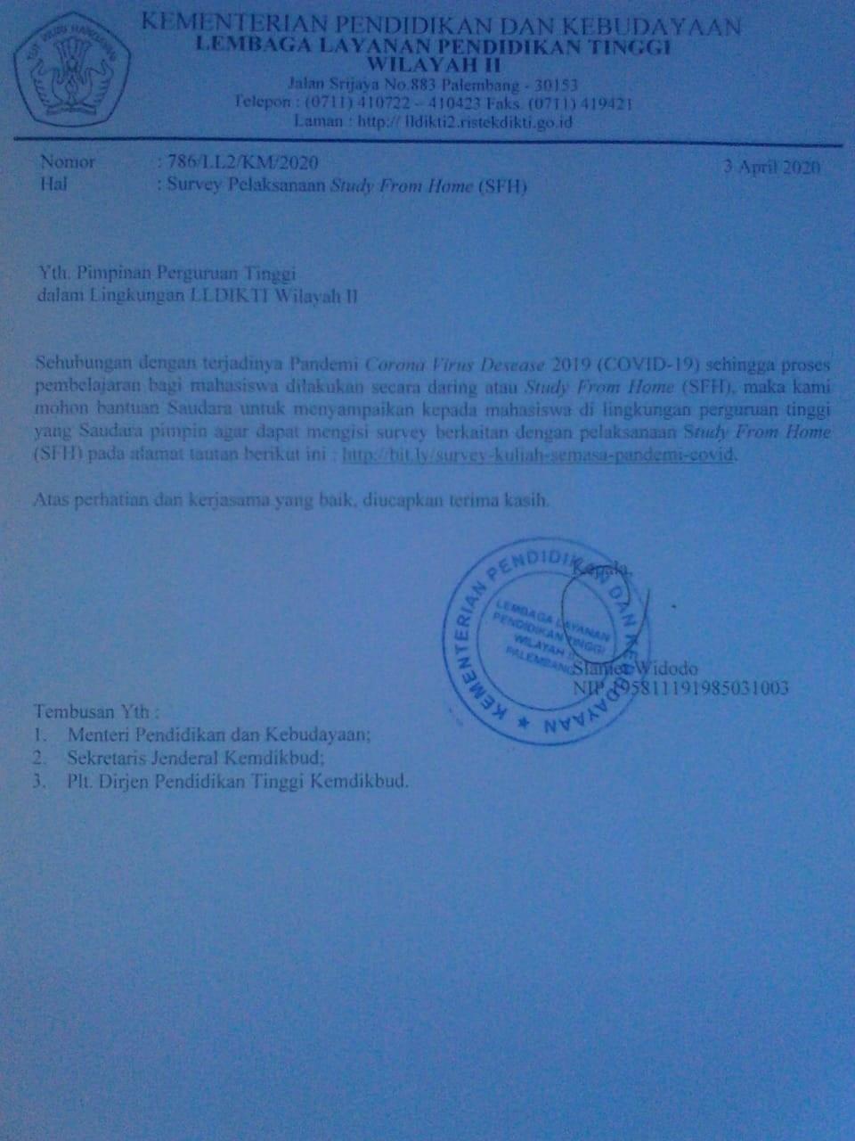 Surat Survey SFH LLDIKTI Wilayah II